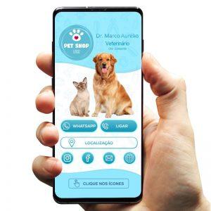 Cartão de Visita Digital Interativo Veterinário e Clínica Veterinária