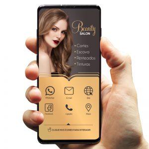 Cartão de Visita Digital (Interativo) Salão de Beleza e Cabeleireira