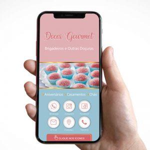 Cartão de Visita Digital Doces Gourmet (Interativo)