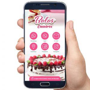 Cartão de Visita Digital Confeitaria e Venda de Bolos Decorados
