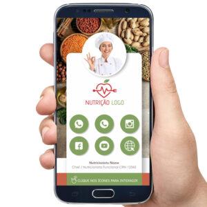 Cartão de visita digital nutricionista, cozinheira, nutrição e alimentos