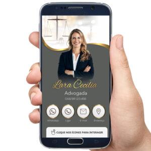 Cartão de visita digital modelo advogada, advocacia