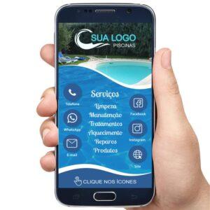 cartão de visita digital interativo piscinas, empresa de venda e manutenção de piscinas