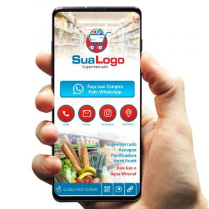 Cartão de Visita Digital Interativo Supermercado, Mercearia e Sacolão