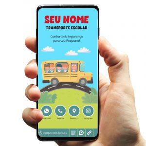 Cartão de Visita Digital Interativo Transporte Escolar e Infantil