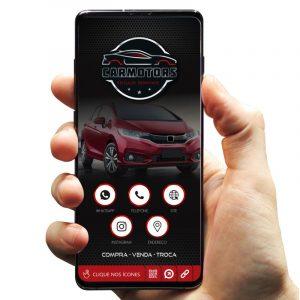 Cartão de Visita Digital com Botões Interativos para Revenda de Veículos