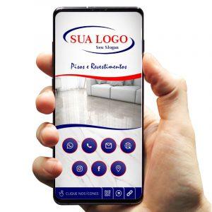 Cartão de Visita Digital com Botões Interativos para Loja de Pisos e Revestimentos