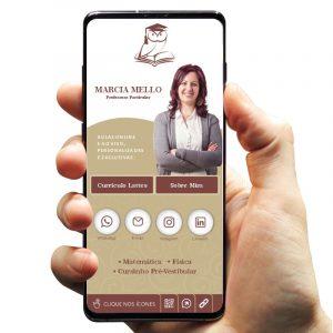 Cartão de Visita Digital com Botões Interativos para Professora Particular