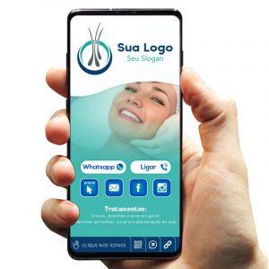 Cartão de Visita Digital com Botões Interativos para Clínica Dermatológica