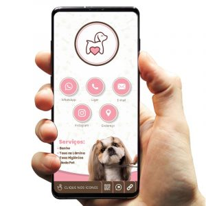 Cartão de Visita Digital com Botões Interativos para Pet Tosa e Banho
