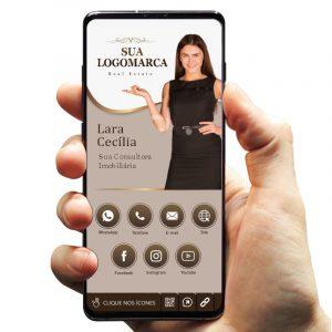Cartão de Visita Digital com Botões Interativos para Corretora / Consultora de Imóveis
